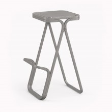 Model X High stool, Metallic Grey