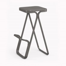 Model X High stool, Raw Steel